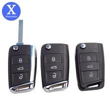 Xinyuexin dobrável remoto escudo chave do carro para golf7 jetta passat polo bora para skoda octavia para seat hu162t lâmina sem cortes 3 botões