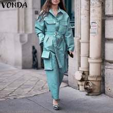 Rompers Women Jumpsuit Casual Long Sleeve Solid With Pockets Jumpsuits VONDA Ladies Lapel Overalls Loose Playsuits Plus Size 5XL(China)