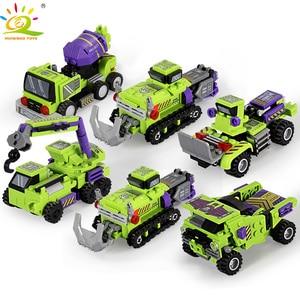 Image 4 - 709pcs 6in1 Transformation Robot Building Block City Engineering Excavator car truck constructor Bricks toy For Children