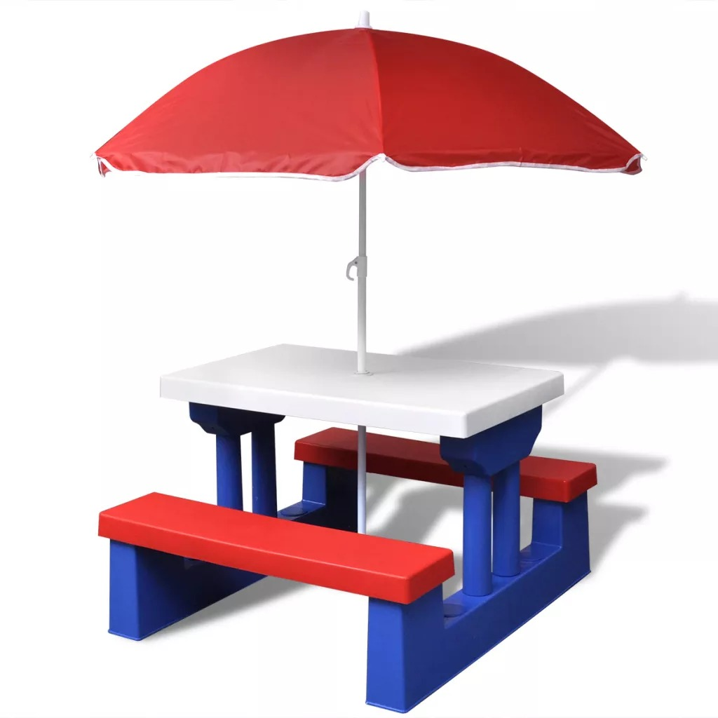 VidaXL Kids Picnic Table With Umbrella 100% Polyamide Perfect For Your Active Kids Picnic Or Outdoor Games