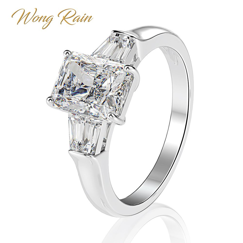 Wong Rain Classic 100% 925 Sterling Silver Created Moissanite Diamonds Gemstone Wedding Engagement Ring Fine Jewelry Wholesale