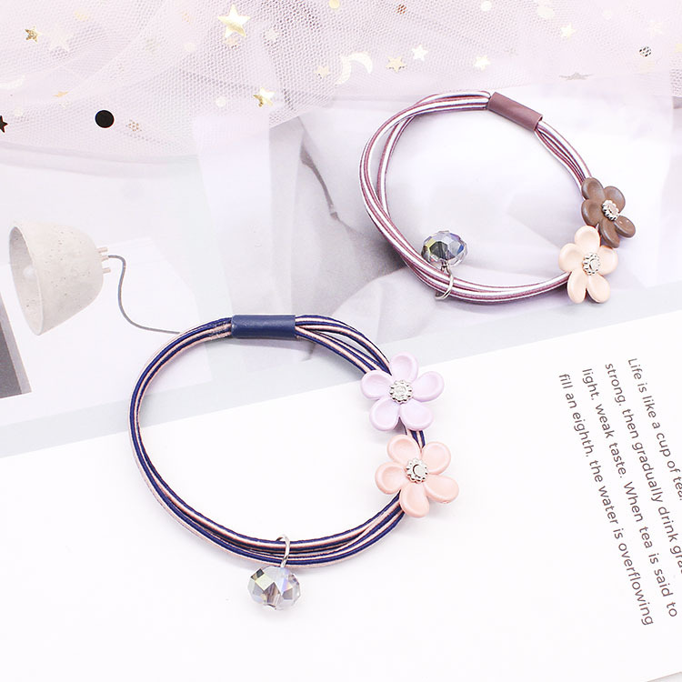 2019 Hot Sale 4 Pieces Of Discounted Korean Version Of The New Hair Accessories Double-line Rope Cute Flower Beaded Rubber Band(China)