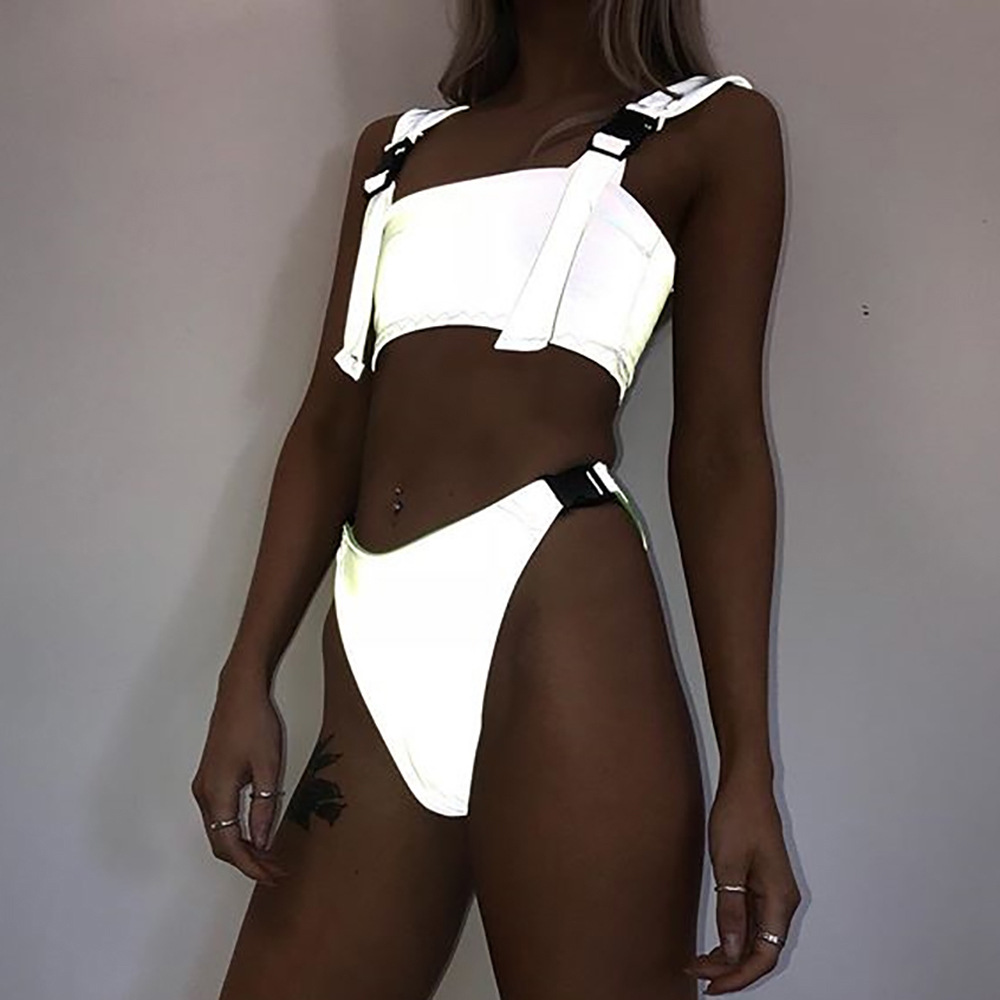 Reflective Silver Bikini Buckle Swimsuit Glowing Thong Bikini Sets Women Brazilian Bathing Suits Biquini