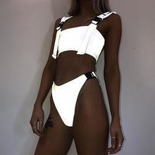 Reflective Silver Bikini Buckle Swimsuit Glowing Thong Sets Women Brazilian Bathing Suits Biquini