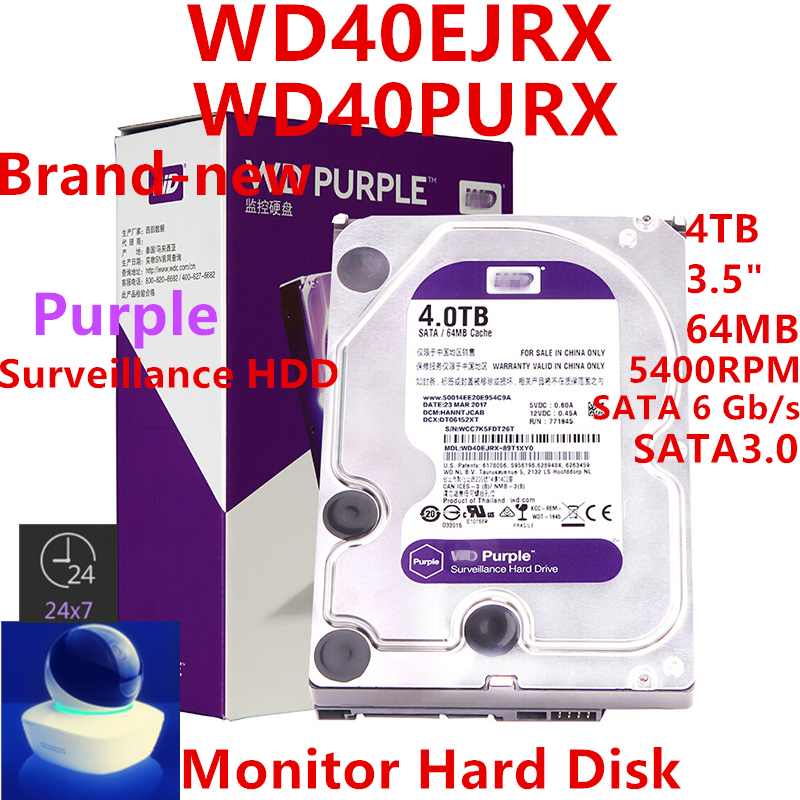 New HDD For WD Brand Purple 4TB 3.5