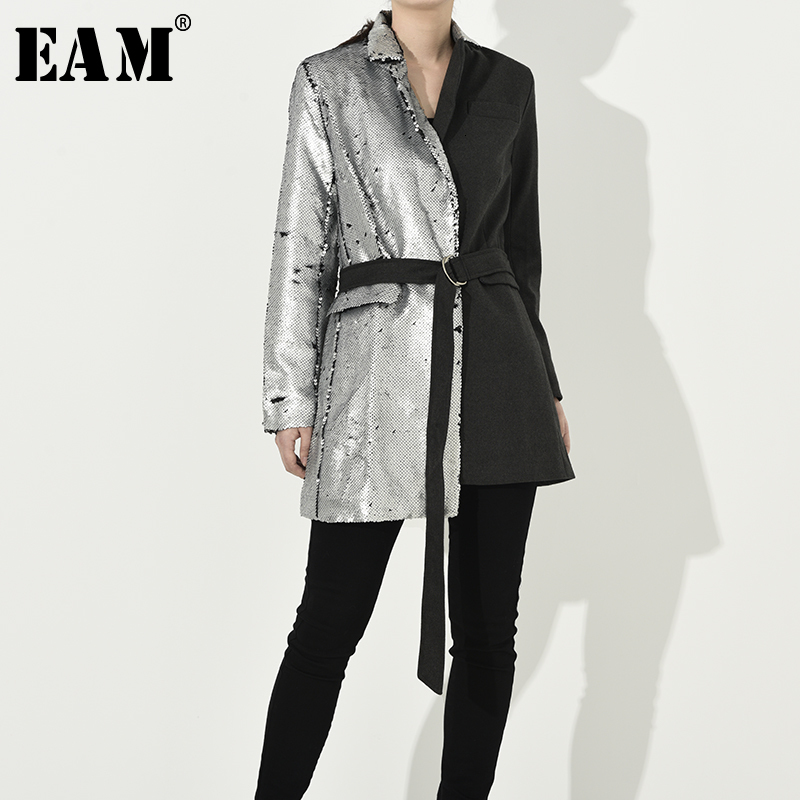 [EAM] Loose Fit Sequins Split Joint Bandage Jacket New Lapel Long Sleeve Women Coat Fashion Tide Spring Autumn 2020 JI99410