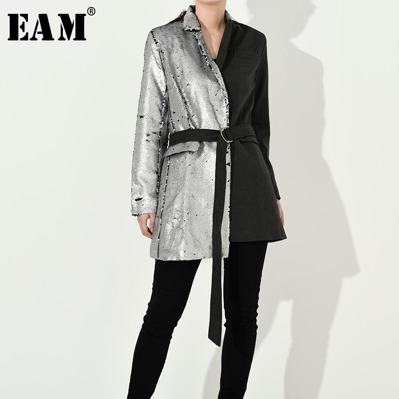 [EAM] Loose Fit Sequins Split Joint Bandage Jacket New Lapel Long Sleeve Women Coat Fashion Tide Spring Autumn 2020 JI99410