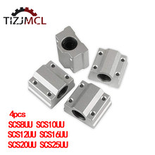 4PCS Linear Shaft Motion Slide Block linear bearing shaft SC8UU SCS8UU SC10UU SCS12UU 16UU 20UU 25UU For CNC 3D Printer Parts