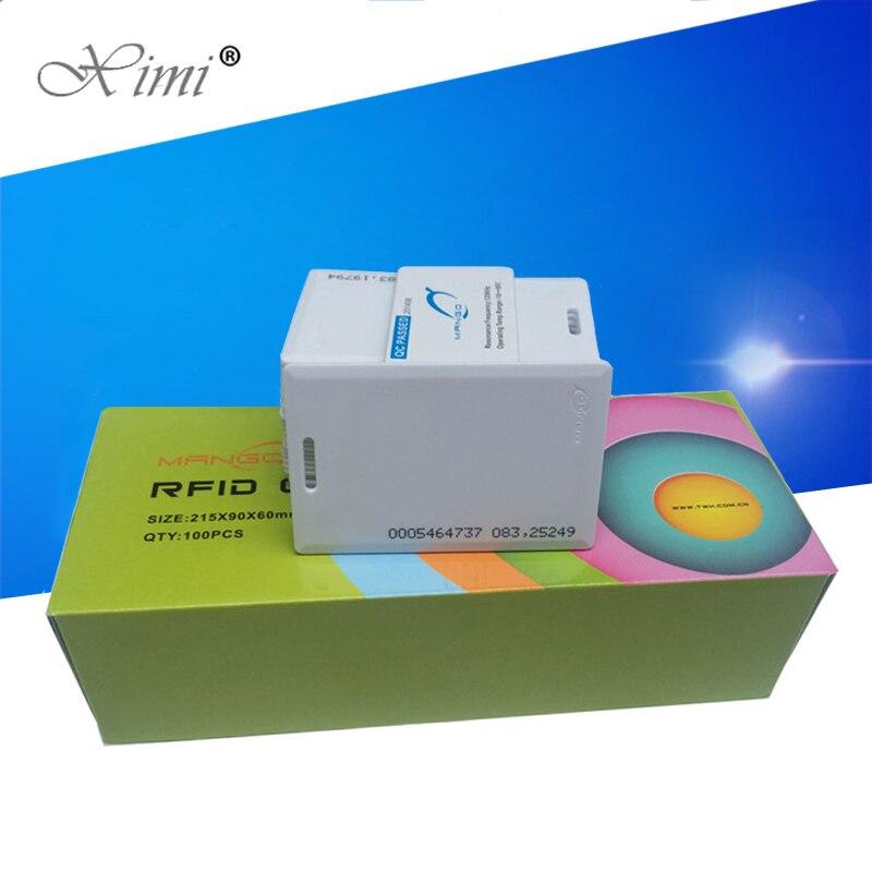 Cartão esperto da proximidade do cartão de 125 khz/13.56 mhz rfid para o controle de acesso e o sistema do comparecimento do tempo tk4100/tks50 chip em/mf rfid cartão