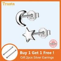 Trusta 100% 925 Sterling Silver 2017 Women Jewelry Fashion Cute Tiny Asymmetric Moon Star Stud Earrings For Daughter Girls DS127