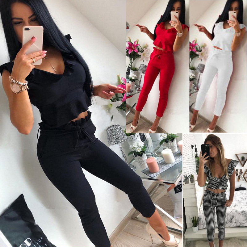 Currently Available Amazon EBay Hot Selling Europe And America Flounced Sleeveless Shirt Solid Color Pants Two-Piece Women's OM8