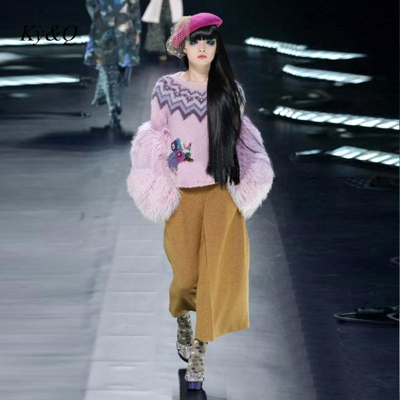 Runway Designer 2019 Winter Women Christmas Sweet Luxury Embroidered Flowers Pink Sweater Pullovers Long Sleeve Short