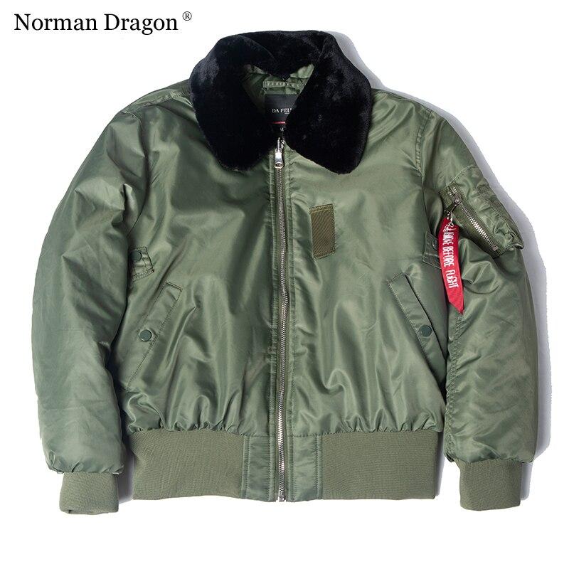 B15 меховой воротник зимняя толстая нейлоновая летная куртка WW2 мужские бомбардировщики|Парки|   | АлиЭкспресс