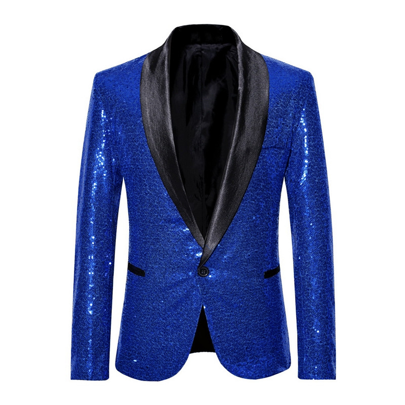 Sparkle Mens Sequins Tuxedo Blazer Jacket Magic Show Carnival Costume Shawl Lapel Nightclub Coat Singer Performance Jacket