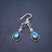 Natural Blue Fire Labradorite Handmade Unique 925 Sterling Silver Earrings 1.75 B2244