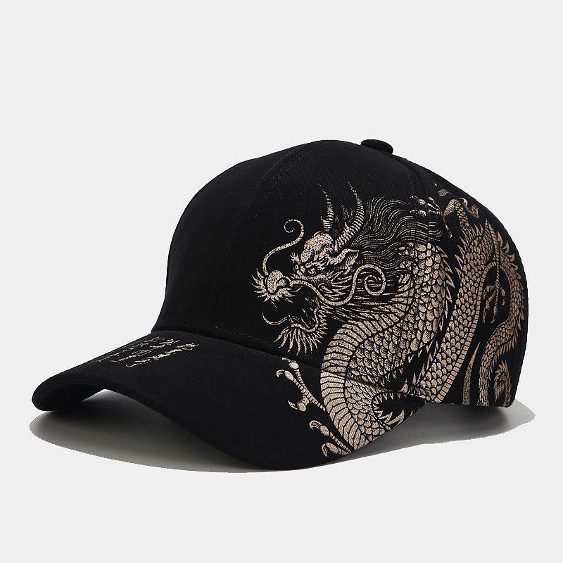 2020 Chic Chinese Style Dragon Design Pattern Baseball Cap 100% Cotton Outdoor Caps Mens Trucker Cap