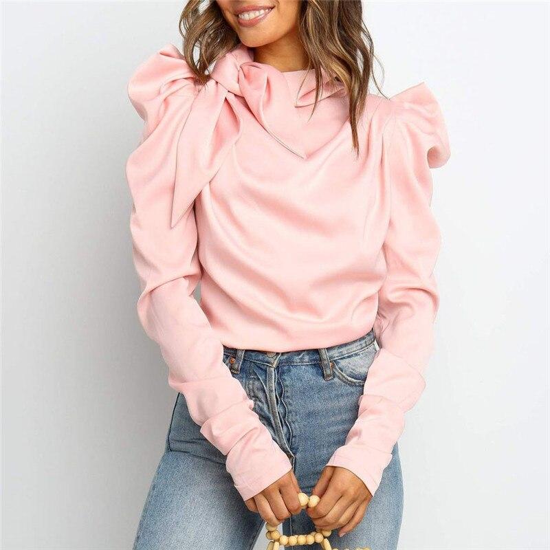 High Street Shirt Women Puff Sleeve O-Neck Loose Fashion Satin Cropped Tops Casual Women Blouse Work Shirts Blusas Mujer De Moda