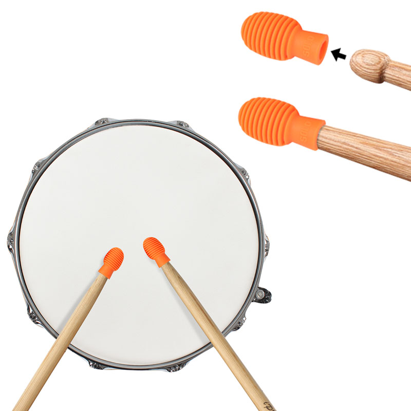 1 Pair SOLO SD-20 Drum Accessories Silicone Drum Stick Head Rubber Sleeve Drumstick Rubber Case Cover for Percussion Instruments