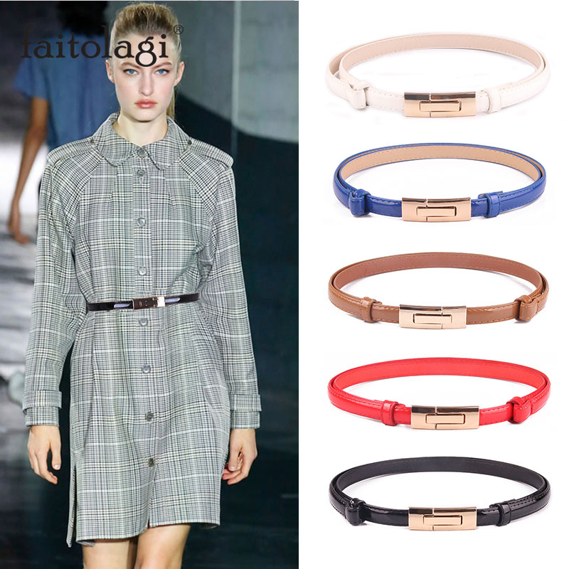 Fashion Ladies Dress Waist Belt Elastic Adjustable Leather Women Belt White Black Blue Skinny Female Waistband Straps