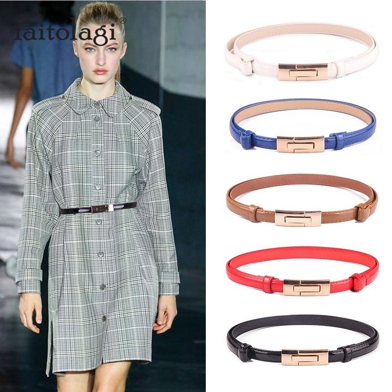 Fashion Ladies Dress Waist Belt Elastic Adjustable Leather Women Belt White Black Blue Skinny Female Waistband Straps