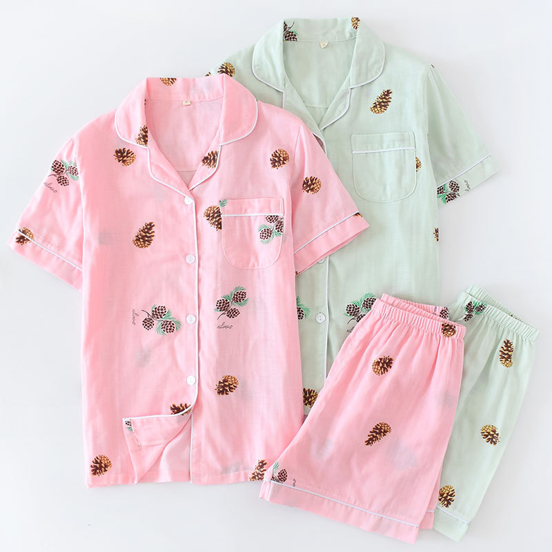 Pop Tide Summer Floral Print Cotton Thin Pajama Sets Turn-Down Collar Female Pockets Tops And Shorts Two Piece Sleepwear