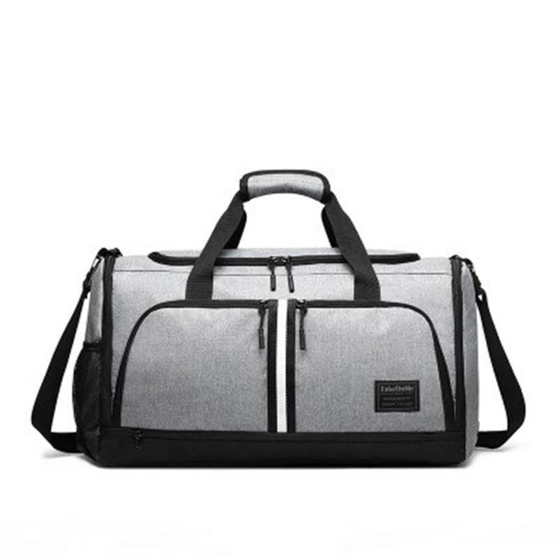Fashion Canvas Men Travel Bags Portable Fitness Bag Lndependent Shoe Position Dry And Wet Separation Can Placed On Trolley Case image