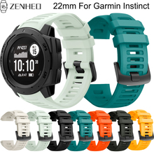 22mm Silicone replacement strap For Garmin Instinct frontier/classic smart watch wristband For Garmin Instinct watch bracelet soft silicone protective case for garmin instinct smart watch dial protection transparent watch case for garmin instinct watch