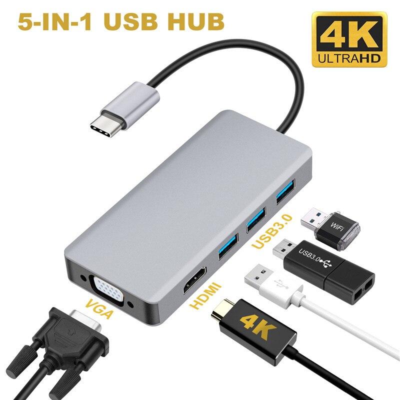 USB C концентратор USB 5 в 1 взаимный обмен данными между компьютером и периферийными устройствами с HDMI VGA Dual Дисплей адаптер с USB 3,0*3 HDMI 4K VGA 1080P @ 60 Гц Thunderbolt 3 Тип C концентратор для Macbook