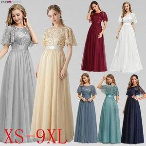Image 2 - ローブ · ド · 夜会スパークドレスロング今までかなりEP00904GY aラインoネック半袖フォーマルドレス女性のエレガントなドレス