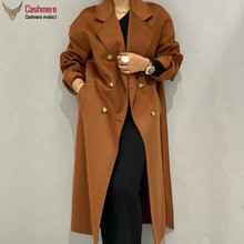 Long coat female autumn wool coat women 2020 winter cashmere coat women water ripple wool coat lace double breasted coat Commute cheap OKOUFEN CN(Origin) 9801 Ages 18-35 Years Old Turn-down Collar Regular Full Slim Wool Blends 20 cashmere +80 wool Office Lady