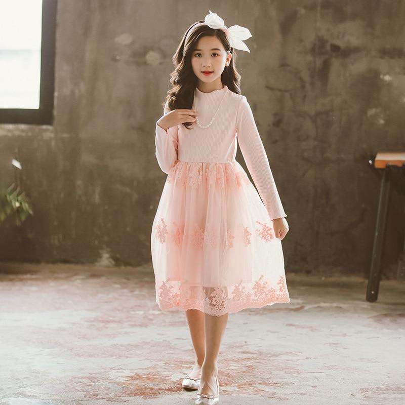 Filles mignon dentelle robe 2019 automne nouveaux enfants princesse robes maman fille famille fête vêtements femmes à manches longues maille Vestido