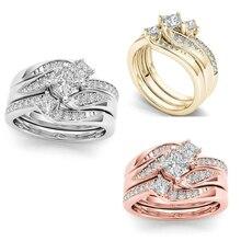 Anillo de novia de cristal femenino de lujo conjunto de anillo de boda de oro/plata joyería promesa anillos de compromiso y amor para mujeres Size5-11