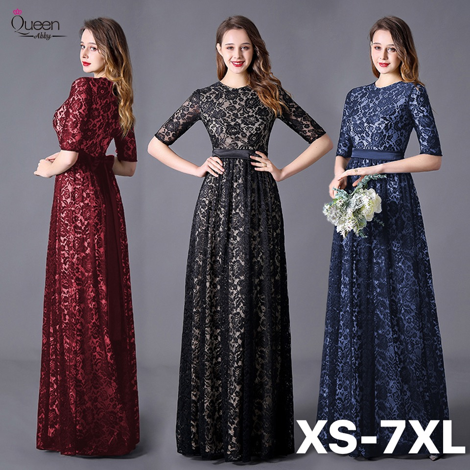 Elegant Evening Dresses A-line Half Sleeves O-neck Appliqued Lace Floor-length Dress With Bow Sashes Zipper-up Dress