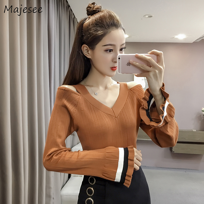 Pullovers Women Knitting V-Neck Slim Elegant Striped All-match Korean Style Casual Daily Harajuku Womens Sweater Pullover Chic