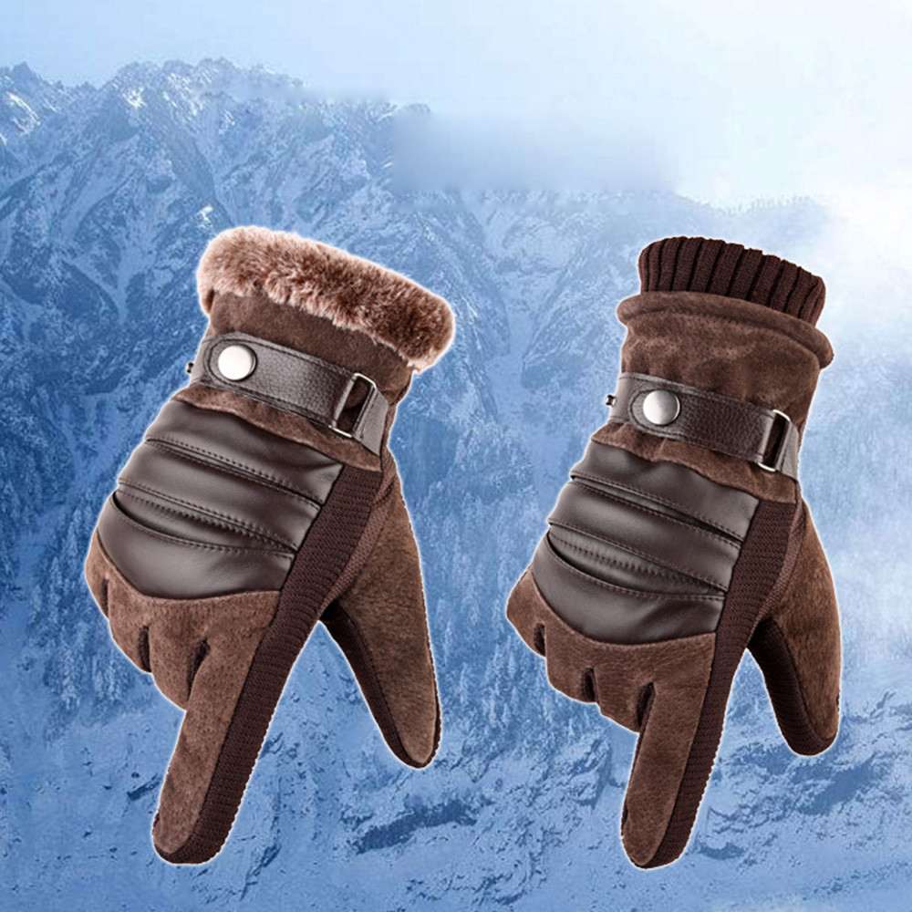 Winter Gloves Men's Windproof Waterproof Bicycle Pigskin Slip Plus Velvet Thickening Gloves Leather Gloves Luvas Motociclismo