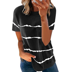 2021 Summer New Fashion Women's Tie-dye Printed Striped Loose Short Sleeve Casual Loose Plus Size T-shirt