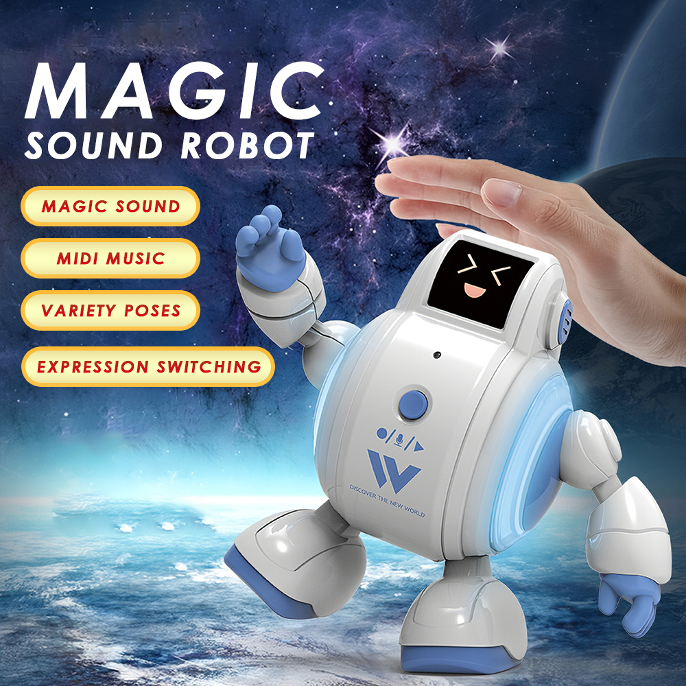 R07 Robots for Kids Interactive Robot Toys Touch Sensing Singing Robot with Emotion LED Light Remote Control Toy for Kids