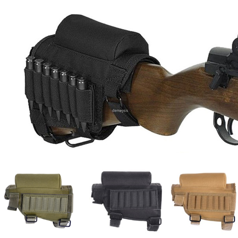 Outdoor Tactical Butt Stock Adjustable Rifle Cheek Rest Pouch Nylon Bullet Holder Pad Ammo Cartridges Bag