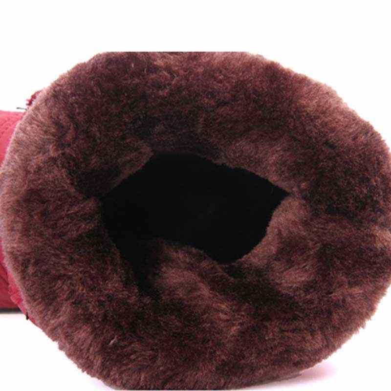 Kış kadın botları su geçirmez püskül yarım çizmeler aşağı kar botları bayan elastik bandı kış ayakkabı womens sıcak kürk siyah Botas Mujer