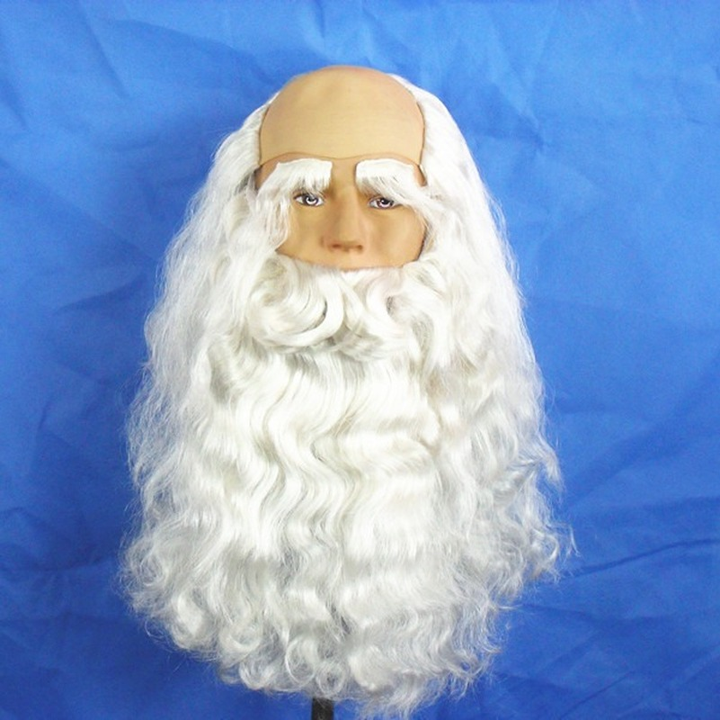 Santa Claus Long Wavy Wig White Santa Claus Beard Set Fancy Halloween Cosplay Wig for Christmas Costume image