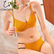 CINOON  High Quality Cotton Underwear Set Fashion Striped Br