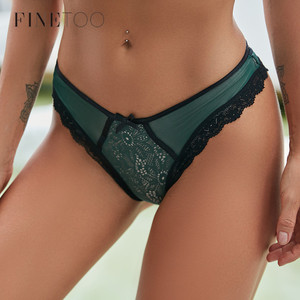 FINETOO Sexy G-String Panties Sexy Women Lace Low-waist Bow Briefs Female Hollow out Underwear Lady French Style Lingerie Panty