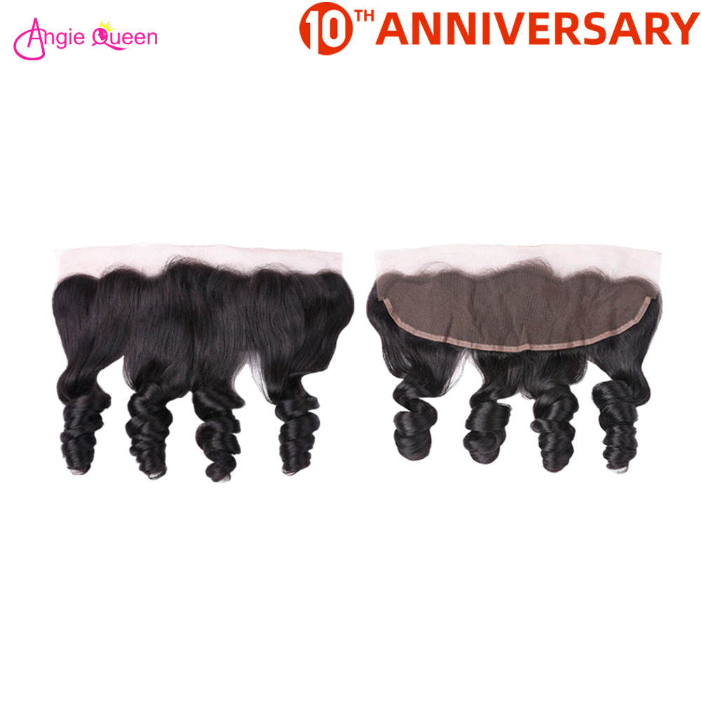 ANGIE QUEEN Brazilian Hair Frontal Loose Wave Hair Frontal Human Hair Lace Frontal Nonremy Hair 150% Frontal 8-20 Inch Free Part