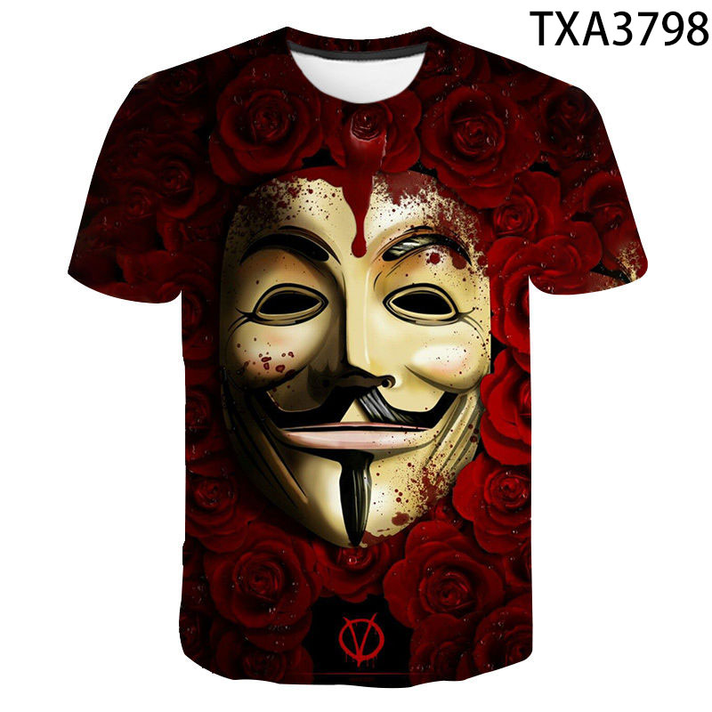 Hacker Mask 3D Print Tshirt Men Women Children Summer Short Sleeve Casual T-shirt Funny  Boy Girl Kids Tops Cool Streetwear Tees