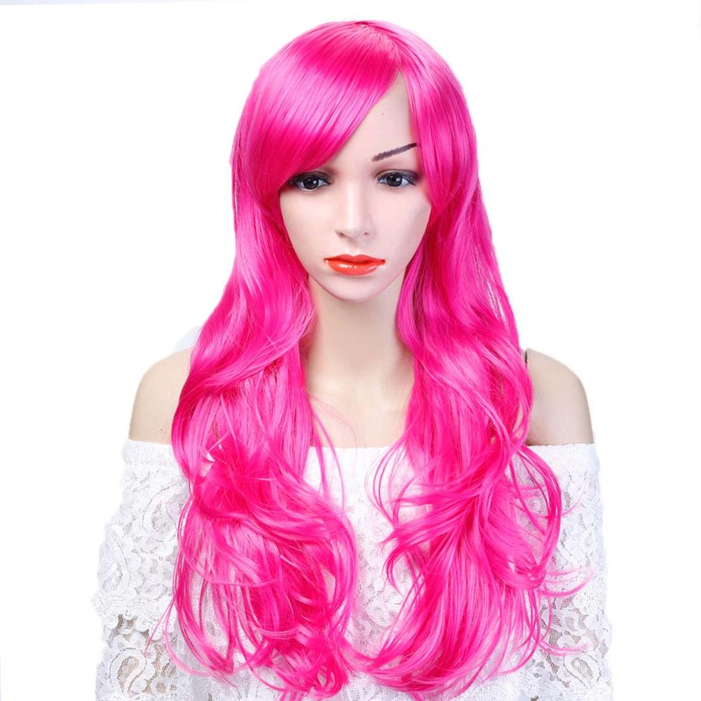 Allaosify 12 Color Synthetic Long Body Wave Afro Natural Hair Wigs With Bangs For Black Women Brown Grey Green Pink Cosplay Wig