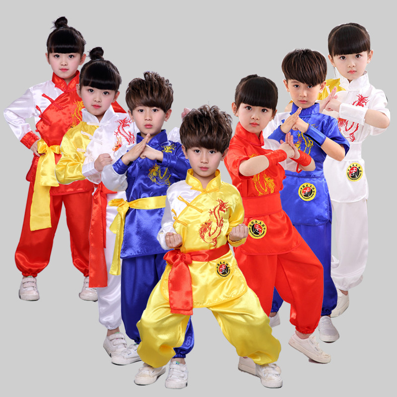 2019 Children Girls Boys Chinese Kungfu Traditional Martial Arts Sets Wushu Dragon Embroidery Stage Performance Chinese Clothing