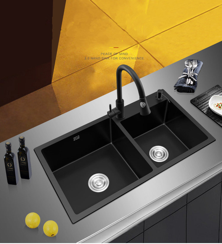 Black Kitchen Sink Doubel bowel Above Counter or Udermount Stainless Steel Seamless Vegetable Washing Basin Sink 4