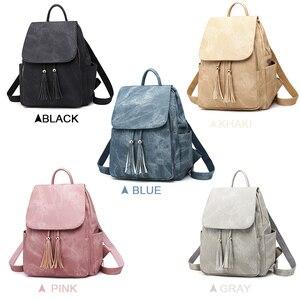 Image 3 - Pink Vintage Backpack Women Back Pack Leather Bag Tassel Female Bagpack Student Girl Teenager Backpack Feminina 2020 sac a dos