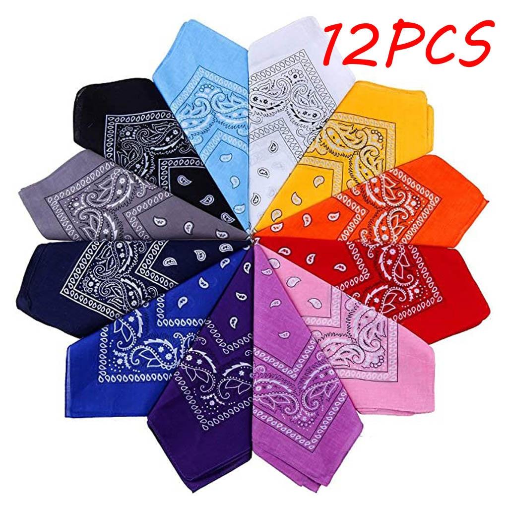 12pcs Dozen Paisley Bandanas Multi Colored Set Cowboy Bandanna Head Scarf Double Sided  foulard Reversible bandana бандана NEW
