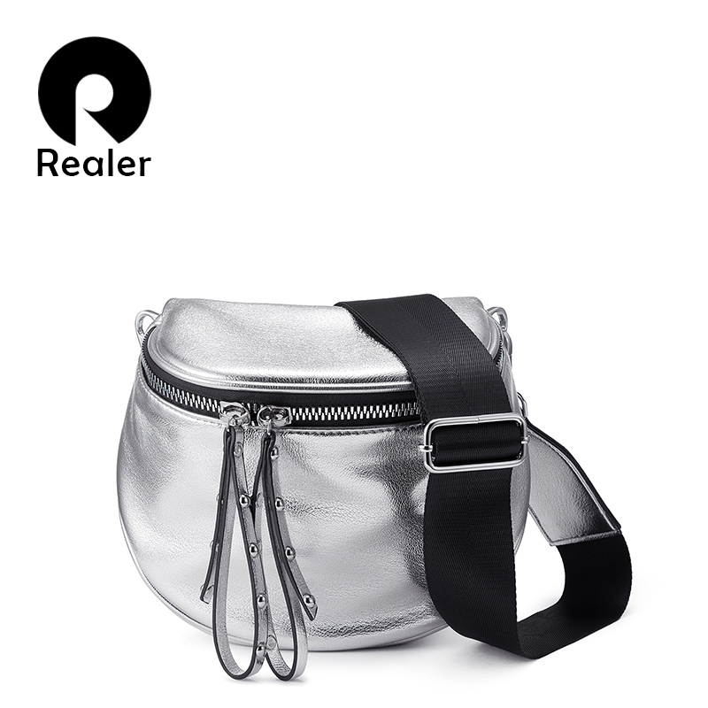 REALER Women Crossbody Bag Fashion Shoulder Bag Wide Strap Soft Artificial Leather Female Messenger Bag For Ladies High Quality